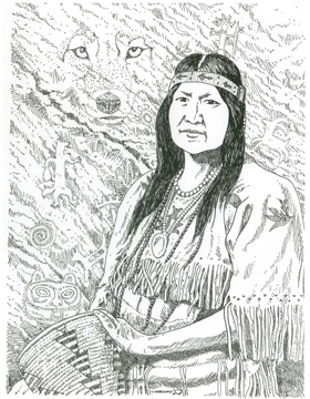 Mourning Dove. Artwork by Smoker Marchand, Colville Tribal Member