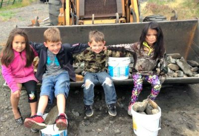 kids rocks backhoe